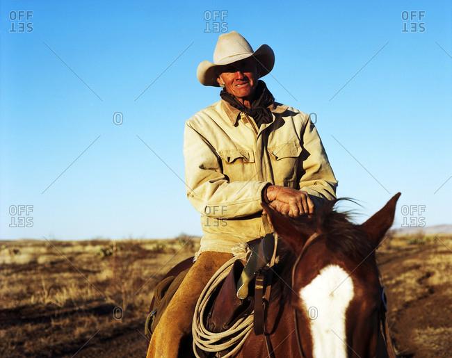 Cowboy smiling atop horse