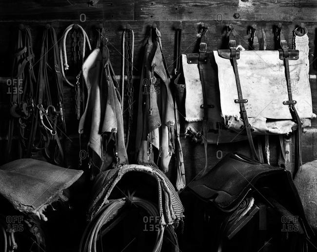 Various horse-riding gear put away
