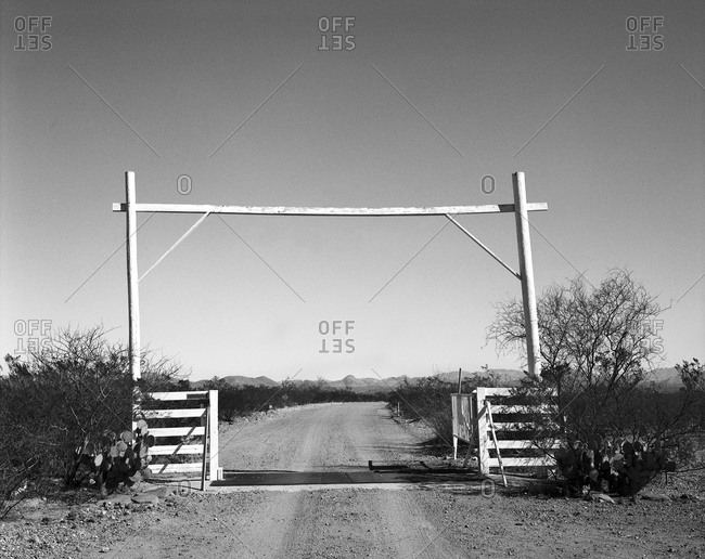 Ranch entrance with cattle guard