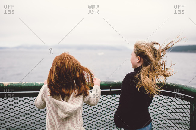 Two girls on ferry boat