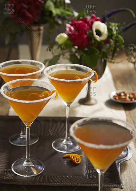 Cocktails served in martini glasses