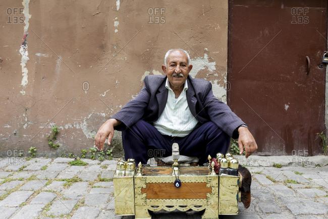Istanbul, Turkey - May 27, 2011: Portrait of a shoe shine worker