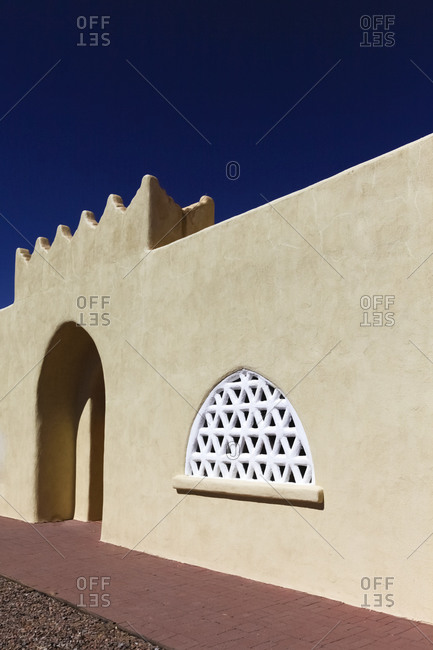 View of the Dar es Salem Mosque in Abiquiu, New Mexico, USA