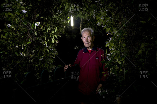 Torre del Lago, Italy - June 18, 2011: An old man peers through bushes