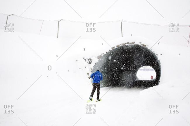 People skiing in the Alps, Passo, San Pellegrino