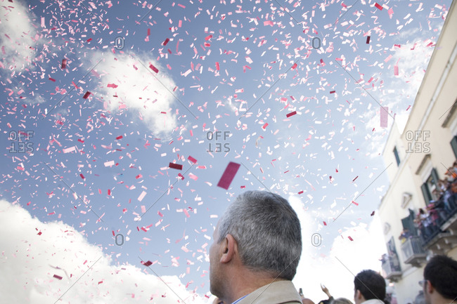 Confetti flies in the air, Bitonto, Italy, Giro d'Italia