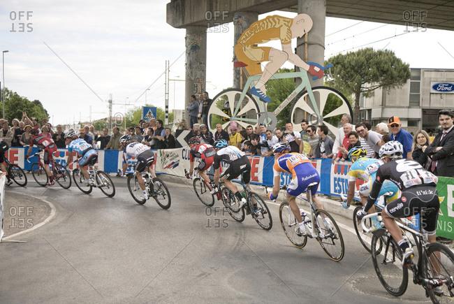 Giro d'Italia, Italy - May 21, 2010: Cyclists round a corner during the Giro d'Italia