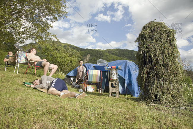 Monte Zoncolan, Italy - May 21, 2010: People set up camp while waiting for the Giro d'Italia