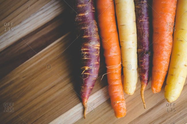 Carrots in different colors on a table
