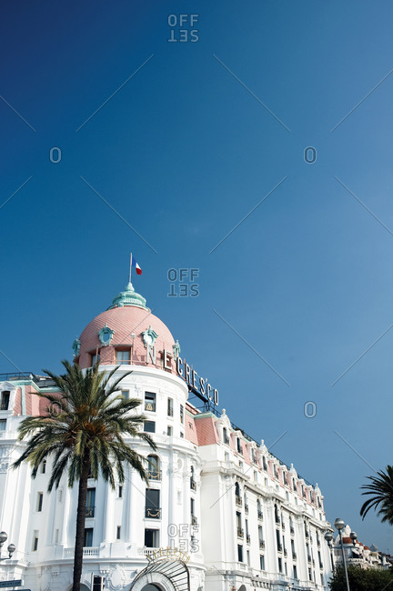 View of the Negresco palace on Promenade des Anglais in Nice, France