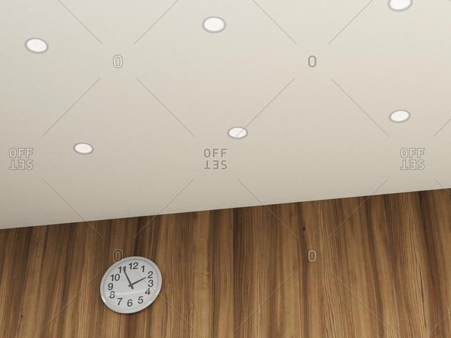Clock on wall, 3D rendering