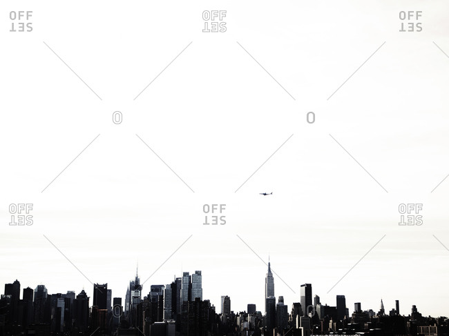 Manhattan skyline under a big sky