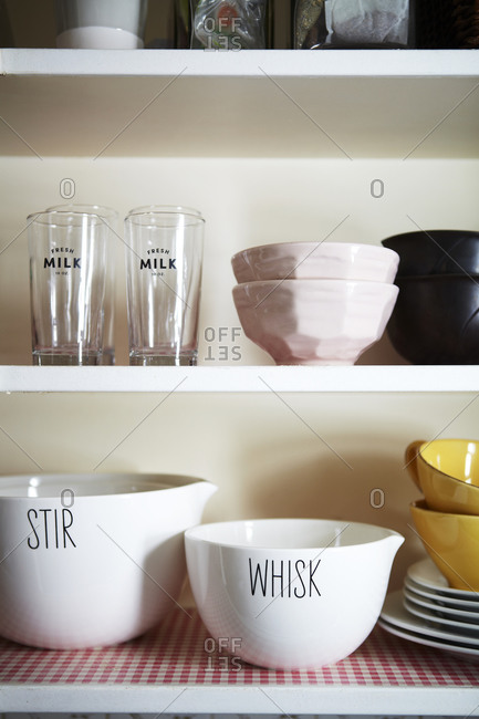 Kitchen shelf with bowls
