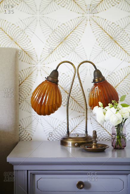 Lamp on side table