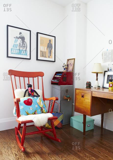 Orange rocking chair