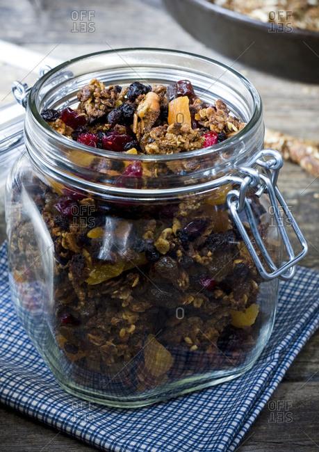 Freshly made granola in jar