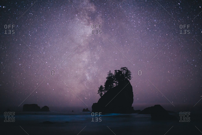 Stars over islands at Second Beach, Olympic National Park, Washington