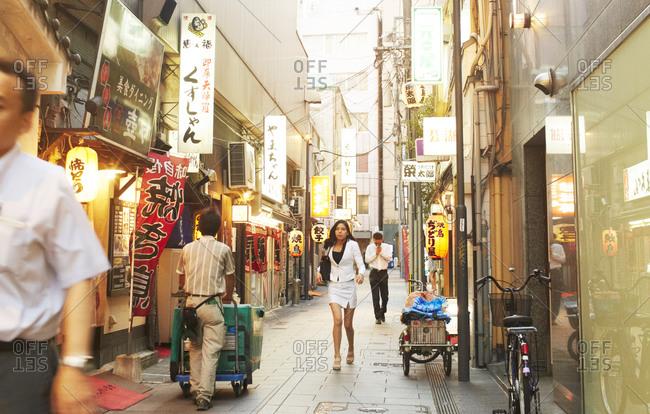 Fukuoka, Japan - July 29, 2014: Side street in Fukuoka, Japan located in Kyushu
