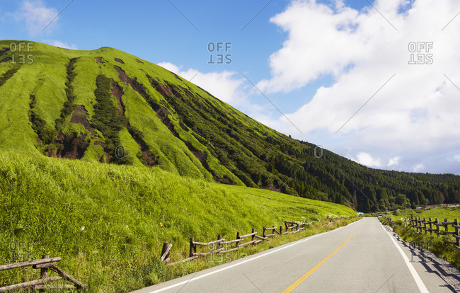 Rural road with hill