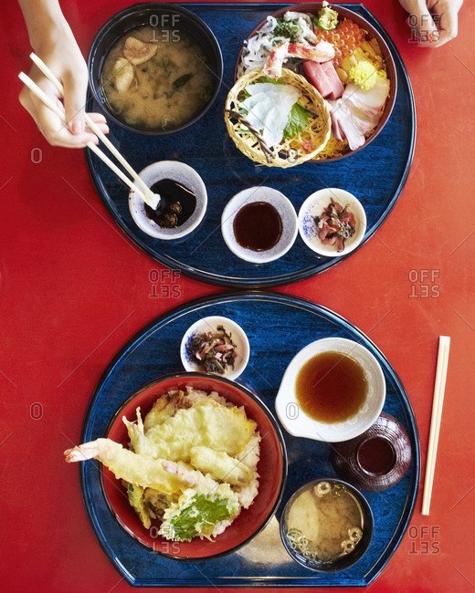 Top view of Japanese food at a restaurant