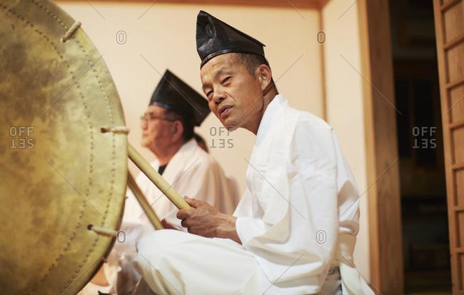 Miyazaki, Japan. - August 1, 2014: Shinto Priests on a religious ceremony