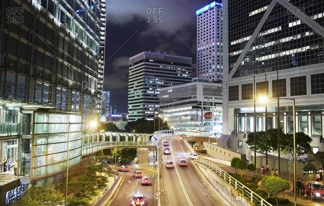 Night time shot of Central, the business district of Hong Kong
