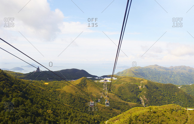 Cable cars nearby the Tian Tan Buddha statue in China