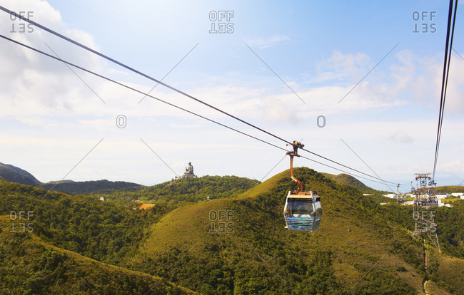 View of cable cars nearby the Tian Tan Buddha statue in China