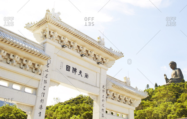 View of a gate at Tian Tan Buddha Statue in China
