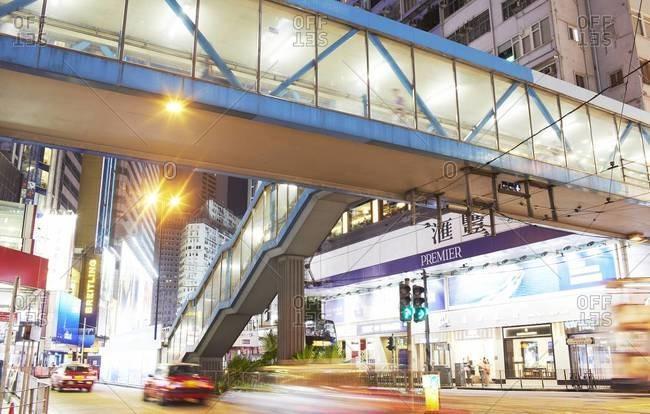 Hong Kong  - August 9, 2014: View of a footbridge in Hong Kong, China
