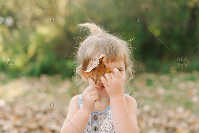 Portrait of a young girl covering her eyes with a dry leaf