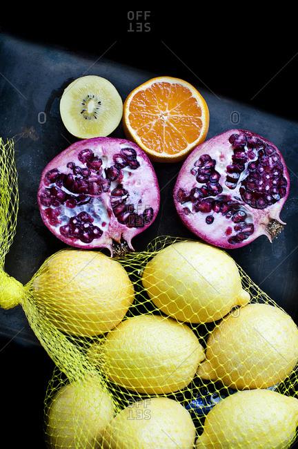 Citrus fruits on a dark background