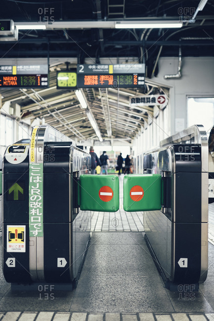 A gate leads to the Japanese subway