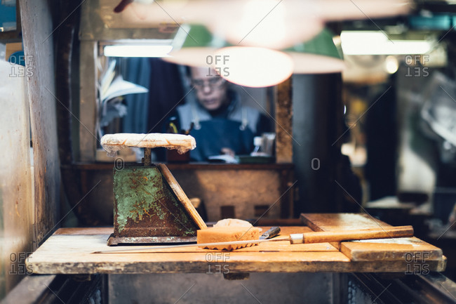A man works in a workshop