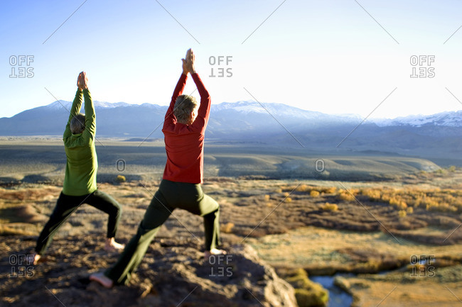 Rear view of a couple performing yoga together in the high desert of the Owen's Valley, California