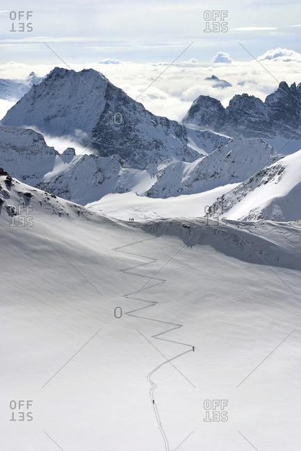View of trail, Haute Route, Wallis Alps, Switzerland