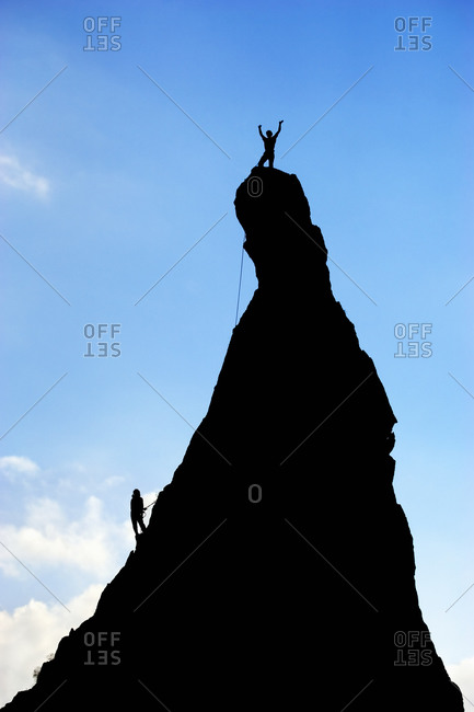 Climbers on the Aiguillette d'Argentiere, France