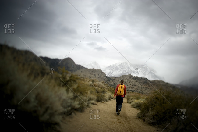 Walking alone in desert environment with grey clouds above, California, USA