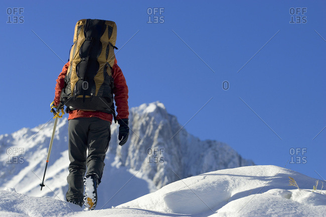 Person backpacking in Sierra Nevada, USA