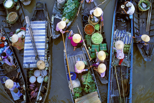 Floating market on the Mekong River Delta near Cai Rang, Can Tho, Vietnam