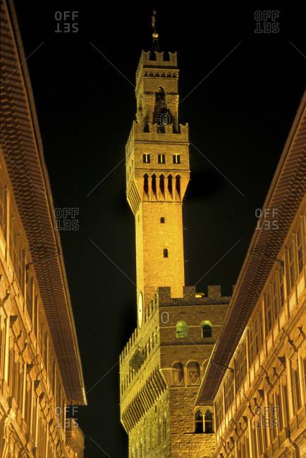 The Uffizi Gallery and Palazzo Vecchio at night. Florence, Italy