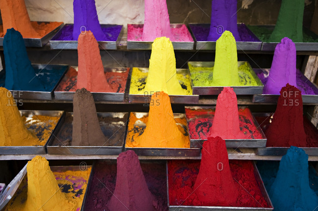 Colorful powder for sale on the streets of India