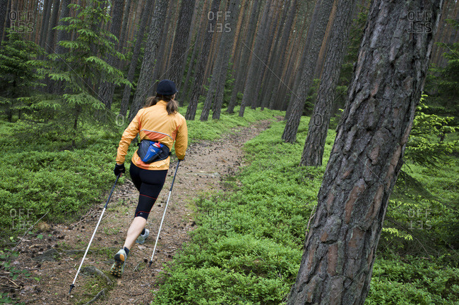Woman Nordic walking alone in a green forest in Bruneck, Italy