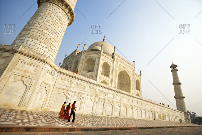 People walking at the Taj Mahal in India
