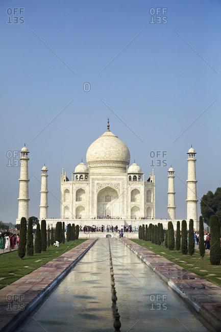 View of the Taj Mahal in India