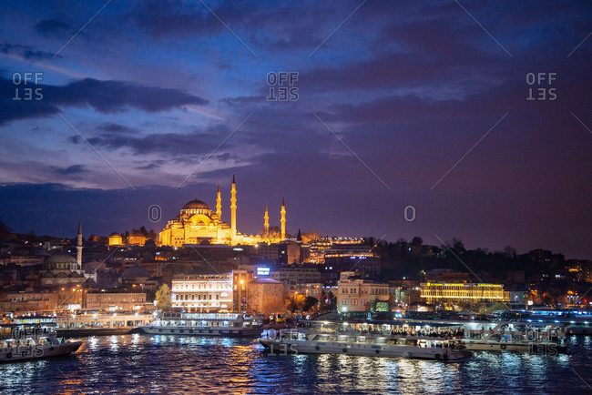 Mosque in Istanbul seen from harbor