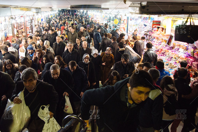 Istanbul, Turkey - February 8, 2014: Crowds in a marketplace