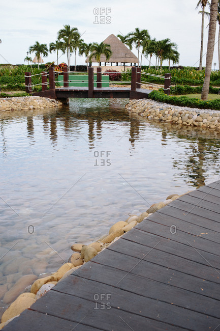 Paved pond at a hotel resort