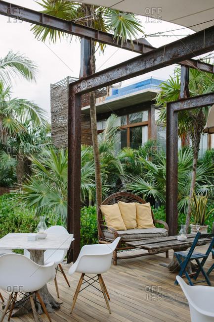 Terrace of a spa resort