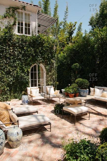 Outdoor furniture on a courtyard